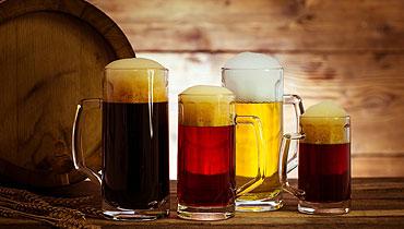 Plusieurs bières sur un comptoir